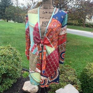 CABI Tie Front Tunic Patchwork XL NWT